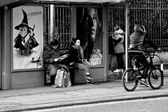 .. bus stop .. (click__1660 F p) (Ziozampi) Tags: bn bw bianco biancoenero blackandwhite monocromo black white nero street streetphotography persone bicicletta movimento urban fav