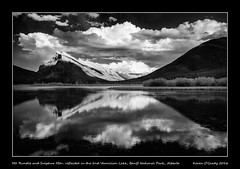 Mt. Rundle and Sulphur Mountain reflected in the 2nd Vermilion Lake, Banff National Park, Alberta (kgogrady) Tags: banffnationalpark infrared landscape mtrundle sulphurmountain summer vermilionlakes banff alberta canada photosofbanffnationalpark picturesofbanff photosofbanff picturesofalberta photosofalberta picturesofbanffnationalpark westerncanada albertalakes 2016 albertalandscapes ab blackandwhite canadianlandscapes blackwhite canadianrockies bw canadianmountains canadiannationalparks canadianlakes canadianrockieslanscape d80 cans2s dx clouds mountains mountrundle nopeople nikon noone nikkor1870mmf3545gifed