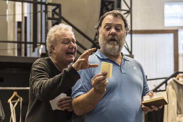 Johannes Martin Kränzle as Sixtus Beckmesser and Bryn Terfel as Hans Sachs in rehearsal for Die Meistersinger von Nürnberg, The Royal Opera © 2017 ROH. Photograph by Clive Barda