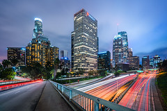 LA Gloom (Michael Muraz) Tags: 2017 ca california downtown losangeles northamerica usa world architecture cartrail city cityscape freeway highway lighttrail night nightphotography nightscape town