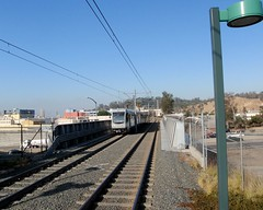 001 Metro Gold Line Train Enters Lincoln-Cypress Station (saschmitz_earthlink_net) Tags: california bridge train losangeles publictransportation metro railway freeway goldline lincolnheights 2014 lacmta