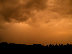 sunset stormclouds (rospix) Tags: uk trees sunset sky orange cloud storm nature weather silhouette june wales clouds countryside 2014 geoengineering rospix