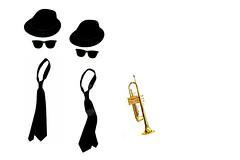 the blues brothers (brescia, italy) (bloodybee) Tags: music stilllife white cinema black film hat sunglasses movie glasses play trumpet tie minimal instrument minimalism 36 brass wayfarer rayban thebluesbrothers