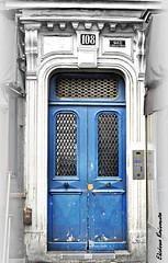 Belleville Paris (Eleanna Kounoupa) Tags: blue paris france architecture doors belleville decoration oldtown oldhouses architecturaldetails