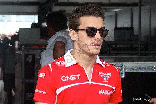 Jules Bianchi returns from the drivers' parade at the 2014 German Grand Prix