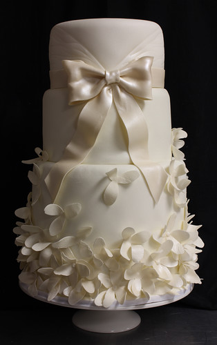 Petals and Bow Wedding Dress Inspired Wedding Cake