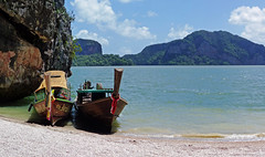 Island Getaway (brentflynn76) Tags: shells beach water landscape thailand boats island islands bay photo scenic longboat phuket jamesbond waterscape phangnga kohkhaopingkan