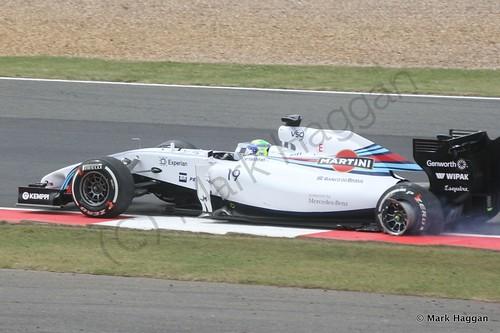 Felipe Massa with one tyre deflated in The 2014 British Grand Prix