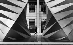 Walk like an Egyptian (vulture labs) Tags: street blackandwhite bw sculpture woman london art girl architecture zeiss 35mm lens person photography pyramid sony carl figure lone f2 dsc walklikeanegyptian bwlondon rx1 vulturelabs sonyrx1 sonydscrx1