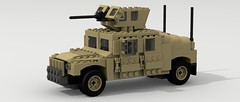 HMMWV (Armored) (Tom.Netherton1) Tags: city classic digital vintage soldier army marine war gun power lego diesel pov designer military iraq machine historic legos soldiers marines heavy hummer h1 humvee hmmwv 1980s armored m2 troops gmc 1990s troop povray ldd