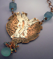 Brich Branch Eclipes the Copper Moon (alnbcollections2) Tags: watercolor originalart copper brass quartz coloredpencil coppernecklace alnbcollections allisonlnorfleetbruengercollections
