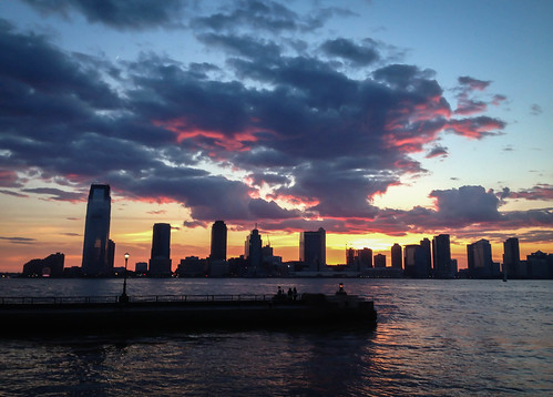 Clouds at Magic Hour Above Jersey City and the Hudson River