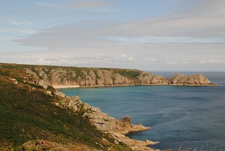 Porthcurno beach and Logan Rock