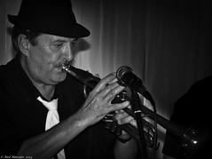 Brass. (Neil. Moralee) Tags: uk bw music white man black classic monochrome hat rock mono nikon band trumpet jazz tie neil somerset monotone player retro moustache soul funk brass bridgewater d7100 musisian moralee