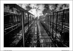 Transparent reflections (Ilan Shacham) Tags: uk england sky blackandwhite bw abstract reflection building london glass up vertical architecture modern britain geometry fineart elevator transparency hitech fineartphotography richardrogers 2014 albangate grahamstirk