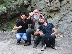 (kryshen) Tags: people men rock georgia beard three sitting drink drinking strangers posing alcohol caucasus vodka chacha tbilisi