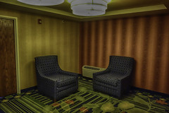 Scenes From Ohio No 5 (Culture Shlock) Tags: street travel ohio wallpaper stilllife carpet hotel chairs space empty motel symmetry hallway banal banality