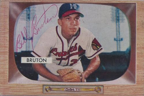 1955 Bowman - Bill Bruton #11 (Outfielder) (b: 9 Nov 1925 - d: 5 Dec 1995 at age 70) - Autographed Baseball Card (Milwaukee Braves)