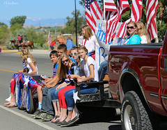 Salute to Veterans (wyojones) Tags: cute beautiful sunglasses stars pretty handsome teens patriotic flags wyoming float cowley veterans youngwomen youngmen bighornbasin pioneerdays bighorncounty wyojones cowleydays