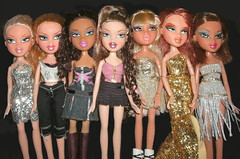 New Bratz girls this week.... (skipscales) Tags: fashion glitter silver gold doll dolls curls redhead yasmin mga rina bratz cloe nevra vinessa meygan