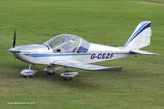G-CEZF - 2007 build Aerotechnik EV-97 Eurostar, taxiing for departure at Barton (egcc) Tags: manchester eurostar aviation dick barton microlight cityairport ev97 3205 cosmik aerotechnik evektor egcb rotax912 gcezf