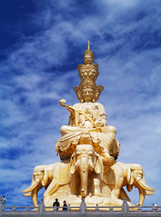 Puxian, Jinding (Golden Summit), Emei Shan (Niall Corbet) Tags: china elephant statue gold buddhist buddhism unesco worldheritagesite summit emeishan sichuan mountemei jinding goldensummit puxian