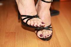 Marnie (IPMT) Tags: sexy feet foot high zoya perfect toes sandals painted deep plum polish heels pedicure toenails marnie strappy morado pedi
