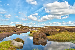 Stanage Edge (krazyrivumz) Tags: blue sky brown green grass yellow rock stone clouds nationalpark rocks heather peakdistrict shapes boulders heath granite wetland stanage moorland stanageedge rockformation outcrops