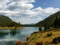 Forgetmenot Pond - one of my favourite places (annkelliott) Tags: trees lake canada mountains nature water clouds forest reflections landscape kananaskis lumix interestingness pond scenery hills explore alberta rockymountains highway66 kcountry forgetmenotpond annkelliott elbowfallstrail anneelliott fz200 wofcalgary explore2014september24