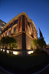 Back Bay Blue Hour (lncgriffin) Tags: travel usa boston nikon massachusetts newburystreet fisheye bluehour nikkor backbay churchofthecovenant 105mmf28gfisheye d7000 rhboston newenglandmuseumofnaturalhistory
