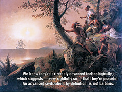 Peaceful Aliens (KAZVorpal) Tags: fiction columbus mars alaska painting europe sailing ship peace native alien colonial peaceful science henry american catamaran scifi imperial santaclaus civilization hudson indians slavery genocide caravel attacks nativeamericans marsattacks chapman frederic lithograph barbarian civilized syfy