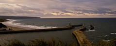 Breakwater at Whitby (Alejandro Erickson) Tags: ocean sea sky lighthouse port landscape waves sony a7 breakwater nothdr landscapehistoryuk