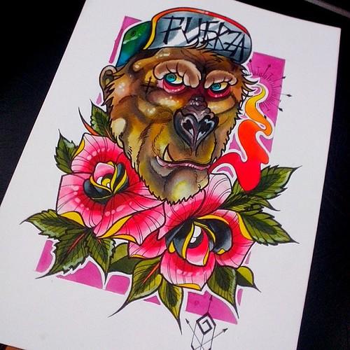 Sketch Fuerza Gorila Tatuaje Ta2 Tattoo Fullcolor Sketch