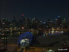 Night Cityscape, Darling Harbour, Sydney. (Lyndon (NZ)) Tags: city longexposure night lowlight cityscape fuji harbour sydney gimp australia 2015 xs1 fujifilmxs1