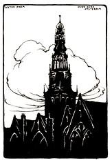 Haagse Post 1922- Anton Pieck.torens-  Oude Kerk Amsterdam (janwillemsen) Tags: antonpieck magazineillustration 1922 haagsepost towers