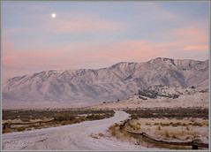 Skull Valley Sunset (Photo-John) Tags: sunset pink cold alpenglow desert moonrise snow skullvalley utah mountains west greatbasin adventure winter travel lonelyroad outback roadtrip evening magiclight olympus omd em1 mirrorless microfourthirds m43 editorialphotography adventurephotography landscape outdoorphotography
