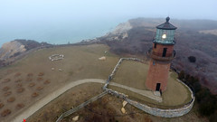 Gayhead Lighthouse at Aquinnah, Martha's Vineyard (Chris Seufert) Tags: capecod marthasvineyard aquinnah gayhead light lighthouse aerial drone fog
