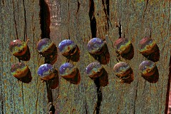 Abstracted Wood and Rivets ! (maginoz1) Tags: abstract art manipulate process wood rivet autumn march 2017 melbourne victoria australia canon g3x