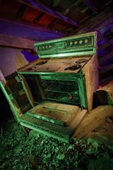 Abandoned Oven III (Notley Hawkins) Tags: rural missouri notley notleyhawkins 10thavenue httpwwwnotleyhawkinscom missouriphotography notleyhawkinsphotography lightpainting bluelight greenlight blue green night nocturne 光绘 光繪 lichtmalerei pinturadeluz ライトペインティング प्रकाशपेंटिंग ציוראור اللوحةالضوء abandoned sky longexposure ruralphotography chartitoncountymissouri red redlight rgb 2017 riverbottoms missouririverbottoms march rafters roof ceiling shed oven stove