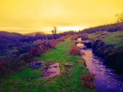 Nr Burrator, Dartmoor, Devon (Dorsetized) Tags: uk bridge england sky mountain water landscape stream hill devon granite british brook tor dartmoor isles rugged clapper