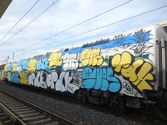 DSCN6447 (en-ri) Tags: train writing torino graffiti giallo crew azzurro bianco nero throwup sdk wholecar opak