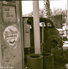 Last Stop (magnetic_red) Tags: blackandwhite abandoned vintage antique rusted gaspump caffenol zenzabronicas2a ilobsterit