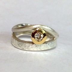 Diamond set ring in Silver and Gold