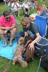 PRIORITIES (Tobyotter) Tags: woman female frank virginia dachshund gal link jimmydean 2014 newportnews summerconcert marinersmuseum concertbythelake