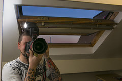 Obligatory Hotel Selfie (Fight The Light) Tags: sunset window ink canon photography hotel flash tattoos leopardprint selfie tats velux birminghamphotographer 5dmk3 russtierney fightthelight hotelselfie