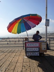 Vendor - Santa Monica Pier, LA (ashabot) Tags: california people colors losangeles cities silhouettes beaches santamonicapier lightandshadow streetscenes