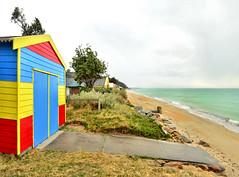 Absolute Beach Frontage [Explored] (phunnyfotos) Tags: winter sea panorama color colour beach bay coast nikon shed australia melbourne victoria hut shore vic beachhut morningtonpeninsu
