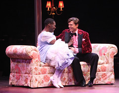 (L to R) Alan Mingo, Jr. (Albin) and Brent Barrett (Georges) in La Cage aux Folles, produced by Music Circus at the Wells Fargo Pavilion August 19-24, 2014. Photos by Charr Crail.