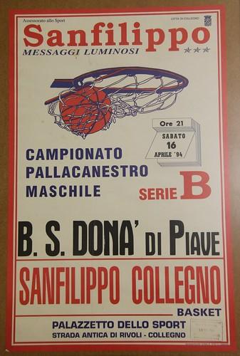 Manifesto Collegno Basket vs. S.Donà di Piave - Serie B Maschile
