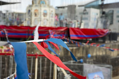 Bunting (The6millionpman) Tags: blue red blur wales bay colours cardiff flags breeze bunting